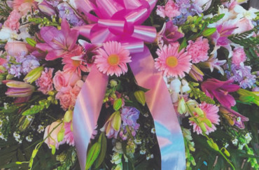 Pink Flowers & Pink Bow Wreath
