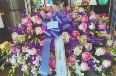 Pink & White Flowers & Blue Ribbon Bow Wreath