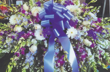 Purple & White Flowers & Blue Ribbon Bow Wreath