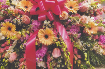 Light Yellow & Purple Flowers & Dark Pink Ribbon Bow Wreath