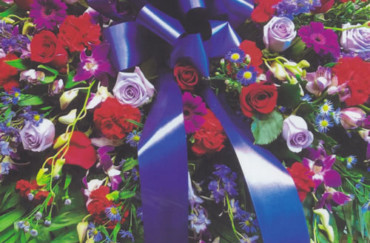 Red & Blue Roses & Purple Flowers & Blue Ribbon Bow Wreath